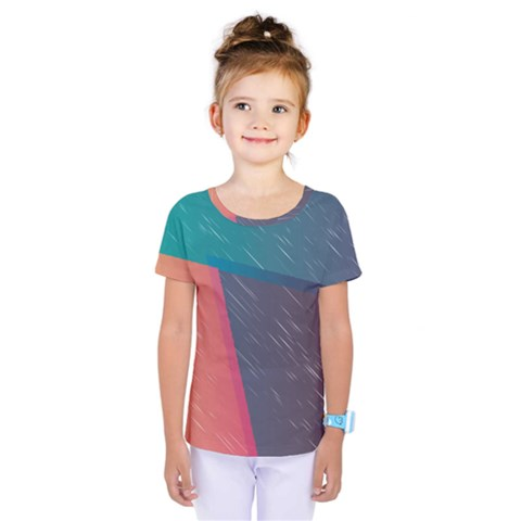 Modern Minimalist Abstract Colorful Vintage Adobe Illustrator Blue Red Orange Pink Purple Rainbow Kids  One Piece Tee by Mariart