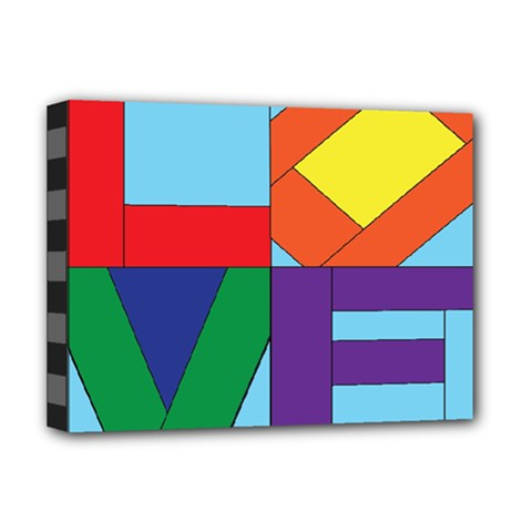 Rainbow Love Deluxe Canvas 16  X 12   by Mariart