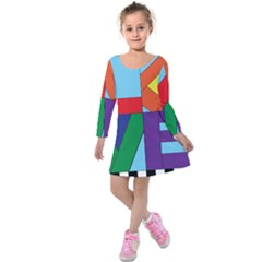 Rainbow Love Kids  Long Sleeve Velvet Dress by Mariart