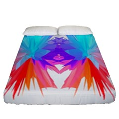 Poly Symmetry Spot Paint Rainbow Fitted Sheet (queen Size)