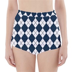 Plaid Pattern High Waisted Bikini Bottoms
