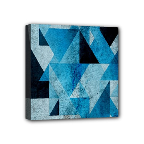 Plane And Solid Geometry Charming Plaid Triangle Blue Black Mini Canvas 4  X 4  by Mariart