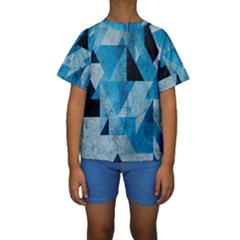 Plane And Solid Geometry Charming Plaid Triangle Blue Black Kids  Short Sleeve Swimwear by Mariart
