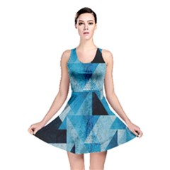 Plane And Solid Geometry Charming Plaid Triangle Blue Black Reversible Skater Dress by Mariart