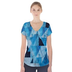Plane And Solid Geometry Charming Plaid Triangle Blue Black Short Sleeve Front Detail Top by Mariart