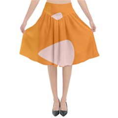 Screen Shot Circle Animations Orange White Line Color Flared Midi Skirt by Mariart