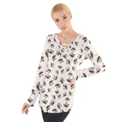 Autumn Leaves Motif Pattern Women s Tie Up Tee by dflcprintsclothing