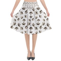 Autumn Leaves Motif Pattern Flared Midi Skirt by dflcprintsclothing