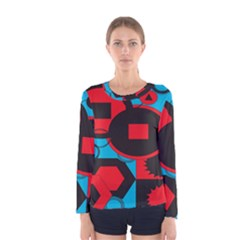 Stancilm Circle Round Plaid Triangle Red Blue Black Women s Long Sleeve Tee by Mariart