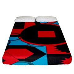 Stancilm Circle Round Plaid Triangle Red Blue Black Fitted Sheet (king Size) by Mariart