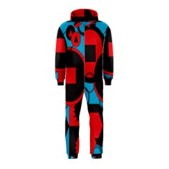 Stancilm Circle Round Plaid Triangle Red Blue Black Hooded Jumpsuit (kids) by Mariart