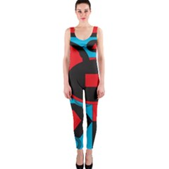 Stancilm Circle Round Plaid Triangle Red Blue Black Onepiece Catsuit by Mariart