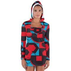 Stancilm Circle Round Plaid Triangle Red Blue Black Women s Long Sleeve Hooded T Shirt by Mariart