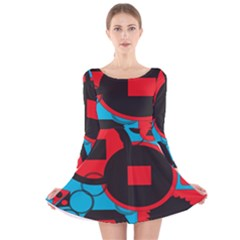 Stancilm Circle Round Plaid Triangle Red Blue Black Long Sleeve Velvet Skater Dress by Mariart