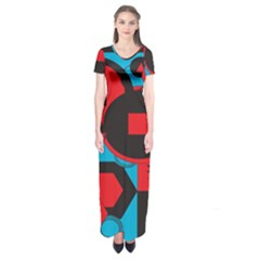 Stancilm Circle Round Plaid Triangle Red Blue Black Short Sleeve Maxi Dress by Mariart