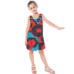 Stancilm Circle Round Plaid Triangle Red Blue Black Kids  Sleeveless Dress by Mariart