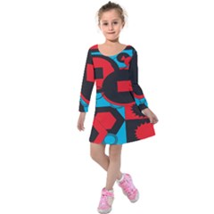 Stancilm Circle Round Plaid Triangle Red Blue Black Kids  Long Sleeve Velvet Dress