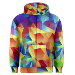 Triangles Space Rainbow Color Men s Zipper Hoodie by Mariart