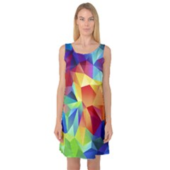 Triangles Space Rainbow Color Sleeveless Satin Nightdress by Mariart