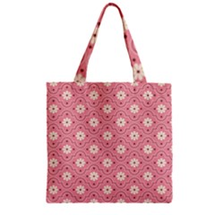Sunflower Star White Pink Chevron Wave Polka Zipper Grocery Tote Bag by Mariart