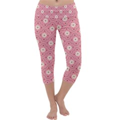 Sunflower Star White Pink Chevron Wave Polka Capri Yoga Leggings by Mariart