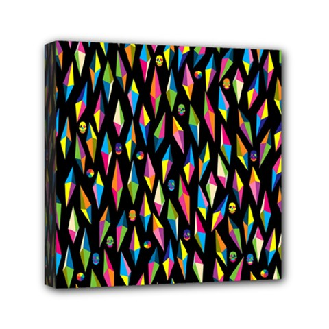 Skulls Bone Face Mask Triangle Rainbow Color Mini Canvas 6  X 6  by Mariart