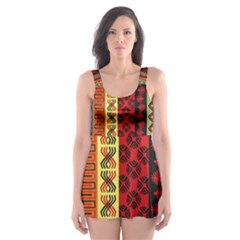 Tribal Grace Colorful Skater Dress Swimsuit by Mariart