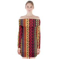 Tribal Grace Colorful Long Sleeve Off Shoulder Dress by Mariart