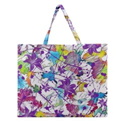 Lilac Lillys Zipper Large Tote Bag by designworld65