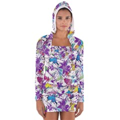 Lilac Lillys Women s Long Sleeve Hooded T Shirt by designworld65