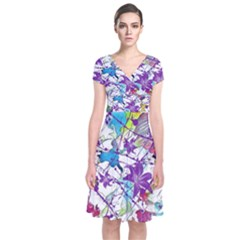 Lilac Lillys Short Sleeve Front Wrap Dress