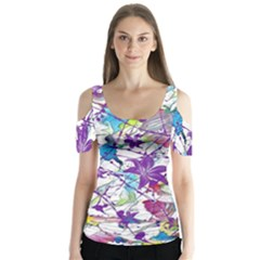 Lilac Lillys Butterfly Sleeve Cutout Tee