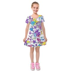 Lilac Lillys Kids  Short Sleeve Velvet Dress