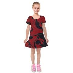 Floral Pattern Kids  Short Sleeve Velvet Dress by Valentinaart