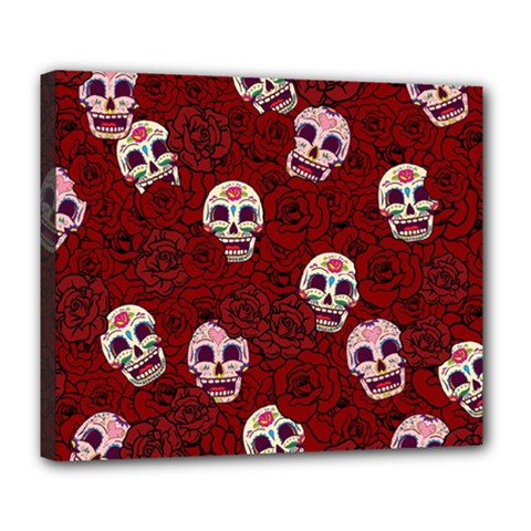 Funny Skull Rosebed Deluxe Canvas 24  X 20   by designworld65