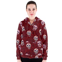 Funny Skull Rosebed Women s Zipper Hoodie by designworld65