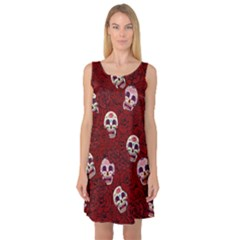 Funny Skull Rosebed Sleeveless Satin Nightdress by designworld65
