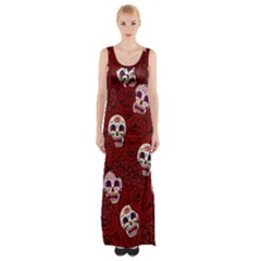 Funny Skull Rosebed Maxi Thigh Split Dress