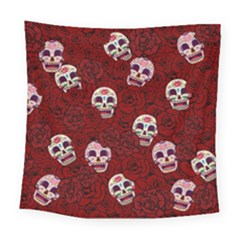 Funny Skull Rosebed Square Tapestry (large) by designworld65