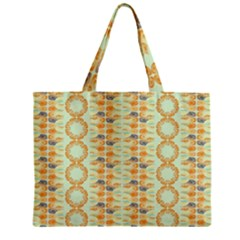 Ethnic Orange Pattern Zipper Mini Tote Bag by linceazul