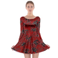 Abstraction Long Sleeve Skater Dress