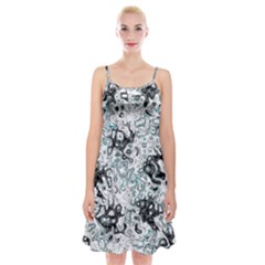 Abstraction Spaghetti Strap Velvet Dress