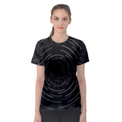 Abstract Black White Geometric Arcs Triangles Wicker Structural Texture Hole Circle Women s Sport Mesh Tee