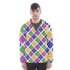 African Illutrations Plaid Color Rainbow Blue Green Yellow Purple White Line Chevron Wave Polkadot Hooded Wind Breaker (men) by Mariart