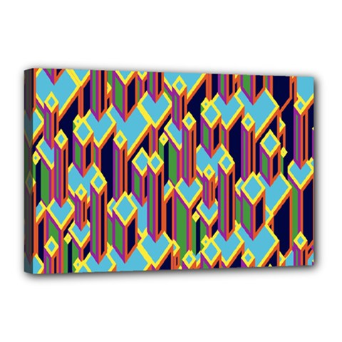 Building City Plaid Chevron Wave Blue Green Canvas 18  X 12