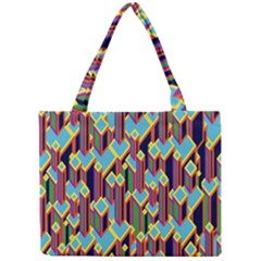 Building City Plaid Chevron Wave Blue Green Mini Tote Bag by Mariart