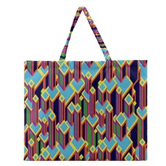 Building City Plaid Chevron Wave Blue Green Zipper Large Tote Bag by Mariart