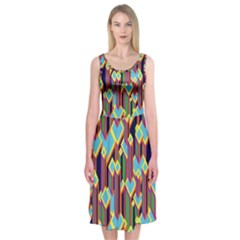 Building City Plaid Chevron Wave Blue Green Midi Sleeveless Dress by Mariart