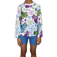 Butterfly Animals Fly Purple Green Blue Polkadot Flower Floral Star Kids  Long Sleeve Swimwear