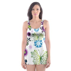 Butterfly Animals Fly Purple Green Blue Polkadot Flower Floral Star Skater Dress Swimsuit by Mariart